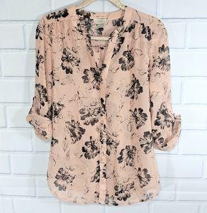 LOFT Pink Floral Blouse Roll Tab Sleeves